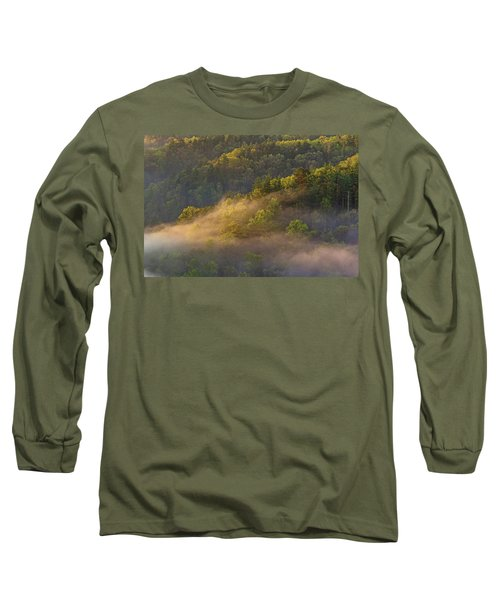 Fog Playing In The Forest Long Sleeve T-Shirt by Ulrich Burkhalter