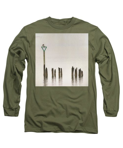 Long Sleeve T-Shirt featuring the photograph Foggy Morning Texture Keyport Harbor by Gary Slawsky