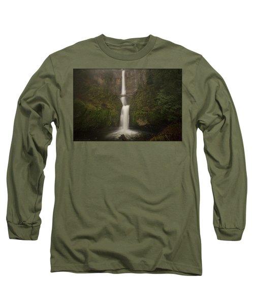 Foggy Multnomah Falls Long Sleeve T-Shirt