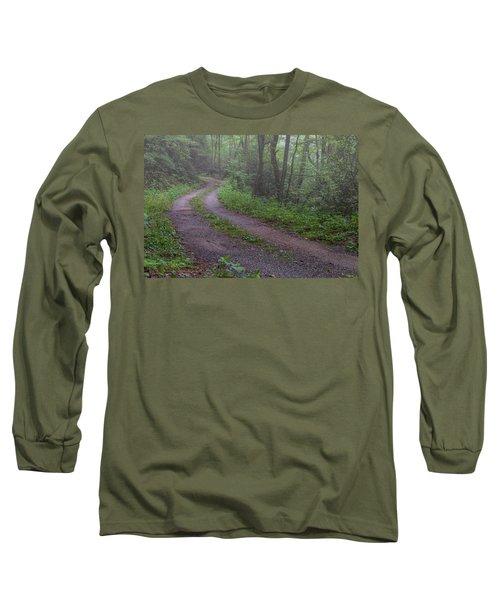 Foggy Road Long Sleeve T-Shirt by David Cote