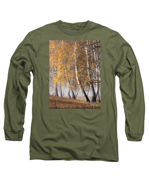Forest With Birches In The Autumn Long Sleeve T-Shirt by Odon Czintos