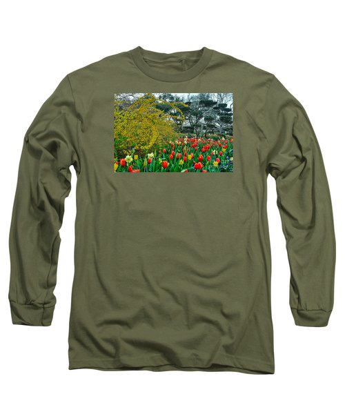 Long Sleeve T-Shirt featuring the photograph Forsythia Tulips And Daffadils by Diana Mary Sharpton