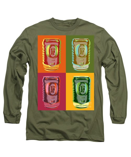 Long Sleeve T-Shirt featuring the digital art Foster's Lager Pop Art by Jean luc Comperat