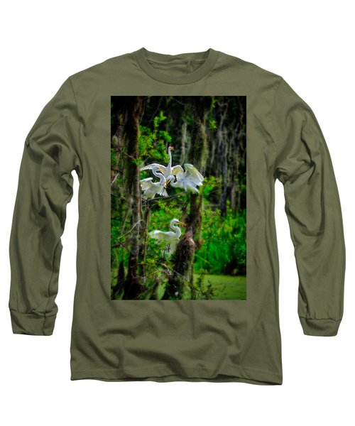 Four Egrets In Tree Long Sleeve T-Shirt