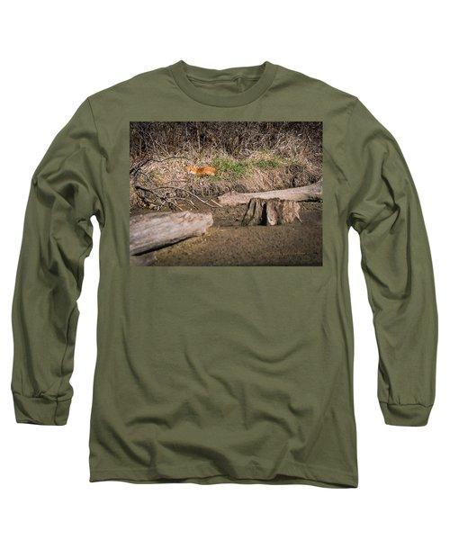 Fox Asleep Long Sleeve T-Shirt by Edward Peterson