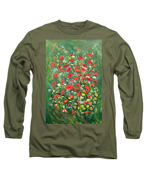Long Sleeve T-Shirt featuring the painting Fresh Poppies From The Garden by Dorothy Maier