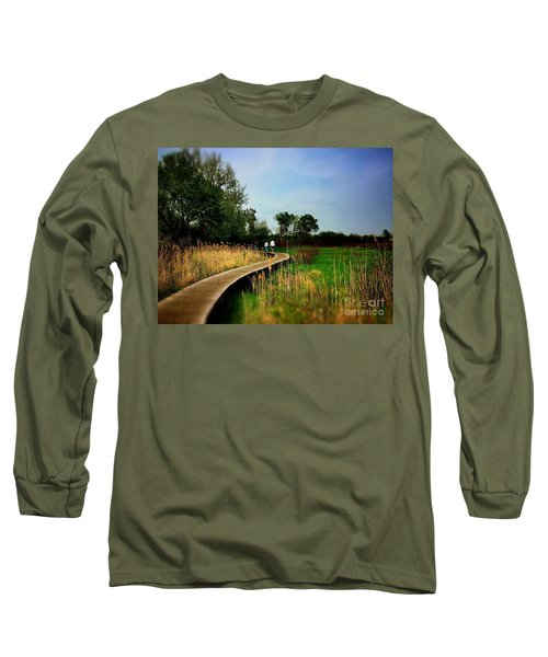 Friends Walking The Wetlands Trail Long Sleeve T-Shirt