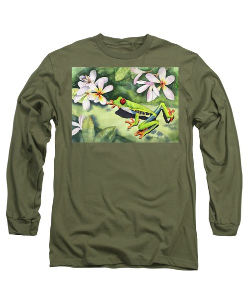 Frog And Plumerias Long Sleeve T-Shirt