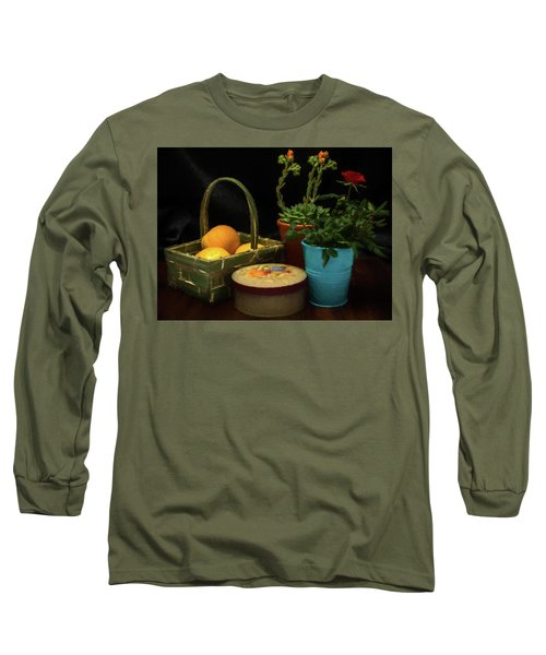 Fruit And Flowers Still Life Digital Painting Long Sleeve T-Shirt