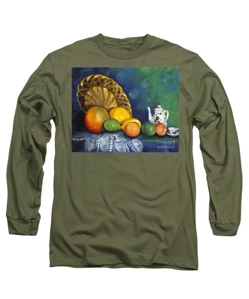 Long Sleeve T-Shirt featuring the painting Fruit On Doily by Marlene Book