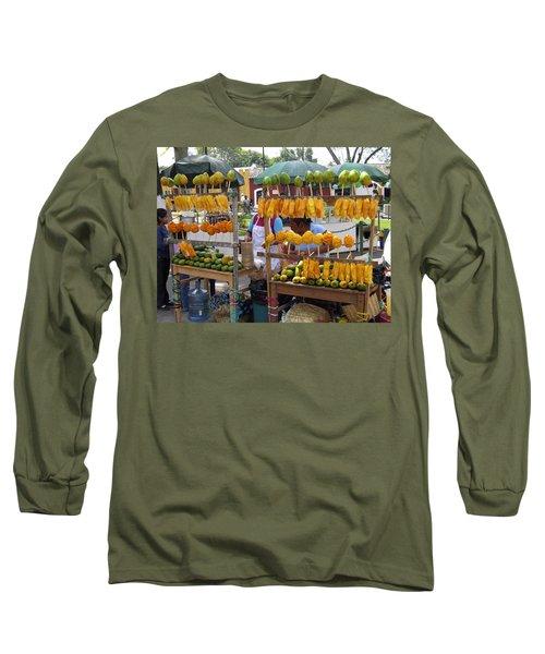 Fruit Stand Antigua  Guatemala Long Sleeve T-Shirt by Kurt Van Wagner