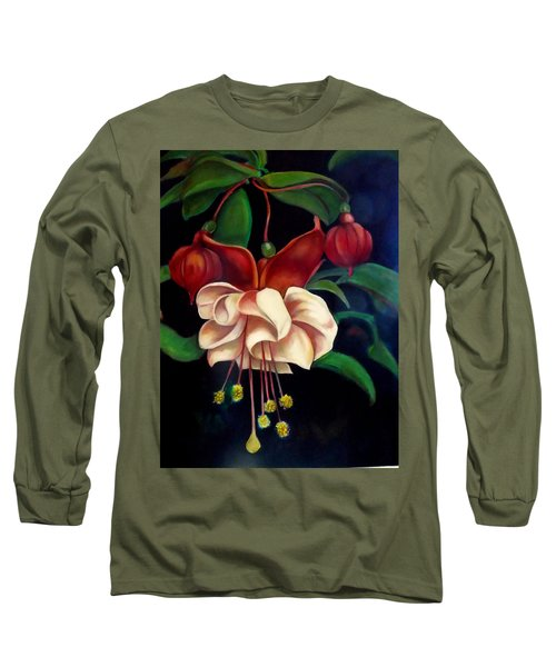 Long Sleeve T-Shirt featuring the painting Fuchsias by Irena Mohr