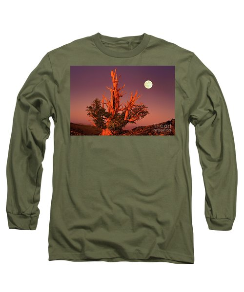 Full Moon Behind Ancient Bristlecone Pine White Mountains California Long Sleeve T-Shirt by Dave Welling