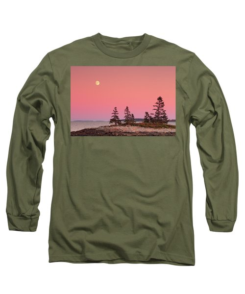 Long Sleeve T-Shirt featuring the photograph Full Moon Over Maine  by Emmanuel Panagiotakis