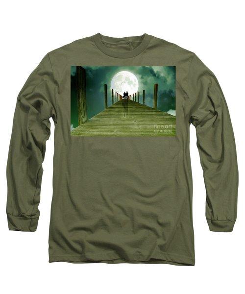 Full Moon Silhouette Long Sleeve T-Shirt by Mim White