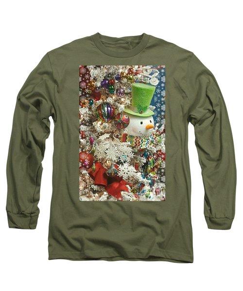 Fun Snowman Holiday Greeting Long Sleeve T-Shirt