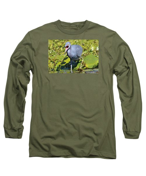 Fussy Little Blue Heron Long Sleeve T-Shirt