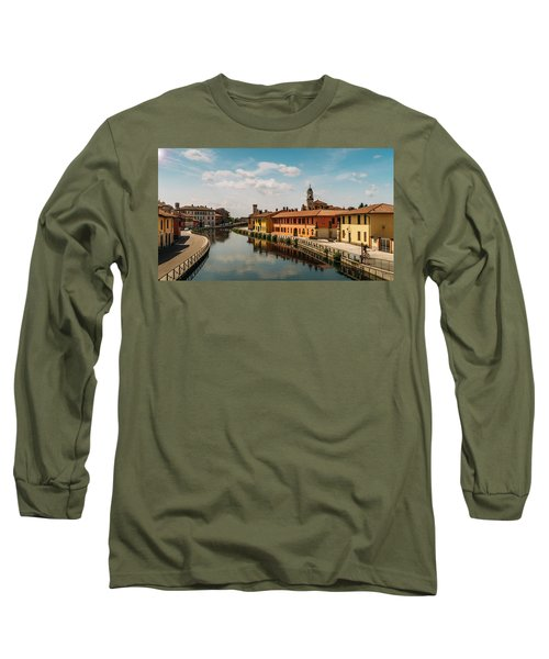 Gaggiano On The Naviglio Grande Canal, Italy Long Sleeve T-Shirt