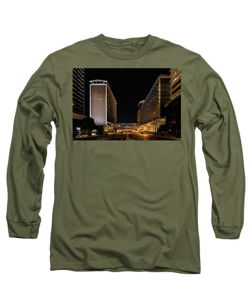 Long Sleeve T-Shirt featuring the photograph Galt House Hotel And Suites At Night by Randy Scherkenbach