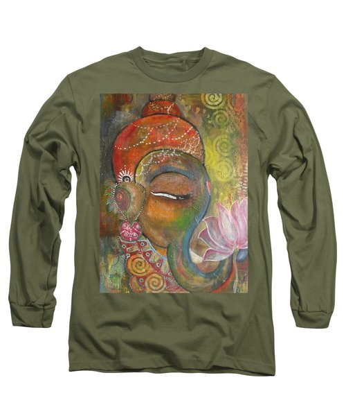 Long Sleeve T-Shirt featuring the painting Ganesha With A Pink Lotus by Prerna Poojara
