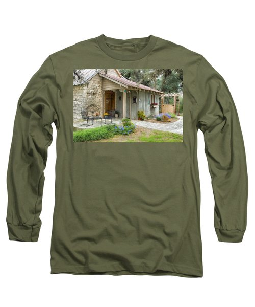 Long Sleeve T-Shirt featuring the tapestry - textile Garden Cottage by Kathy Adams Clark