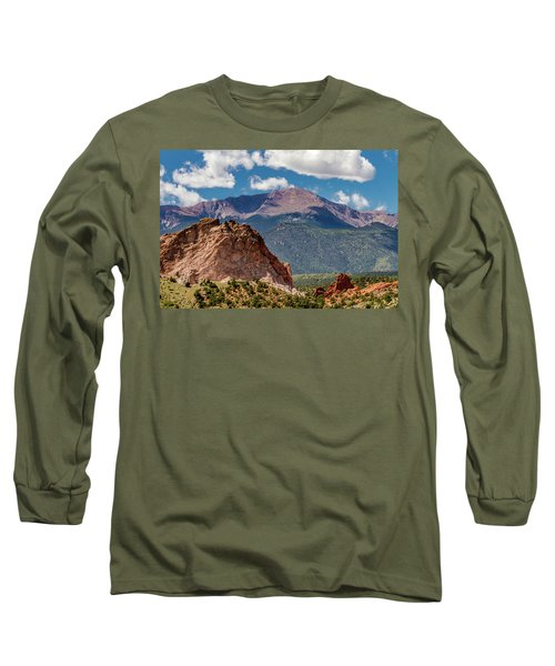 Long Sleeve T-Shirt featuring the photograph Garden Of The Gods And Pikes Peak by Bill Gallagher