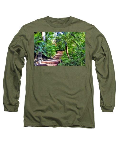 Long Sleeve T-Shirt featuring the photograph Garden Path by Jim Walls PhotoArtist
