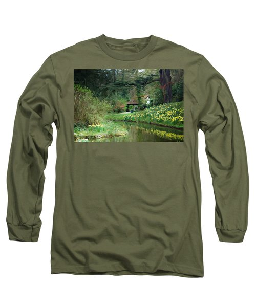 Garden Pond Long Sleeve T-Shirt by Carol Crisafi