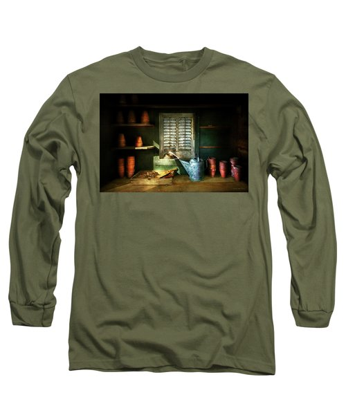 Long Sleeve T-Shirt featuring the photograph Gardener - The Potters Shed by Mike Savad
