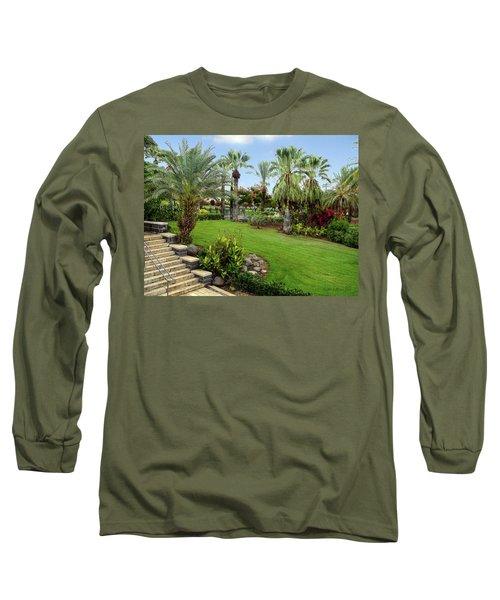 Gardens At Mount Of Beatitudes Israel Long Sleeve T-Shirt