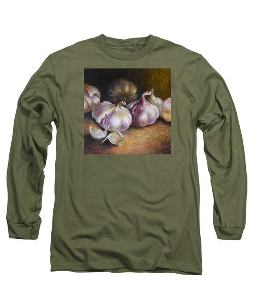 Garlic Painting Long Sleeve T-Shirt by Vali Irina Ciobanu