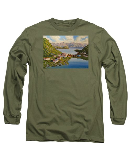 Gaultois Village Newfoundland Long Sleeve T-Shirt by David Gilmore