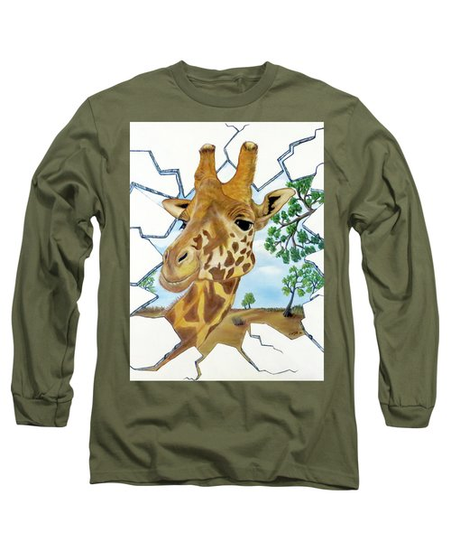 Long Sleeve T-Shirt featuring the painting Gazing Giraffe by Teresa Wing
