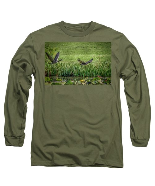 Geese In Flight Long Sleeve T-Shirt by Ray Congrove