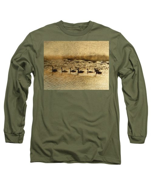Long Sleeve T-Shirt featuring the photograph Geese On Golden Pond by Rockin Docks Deluxephotos