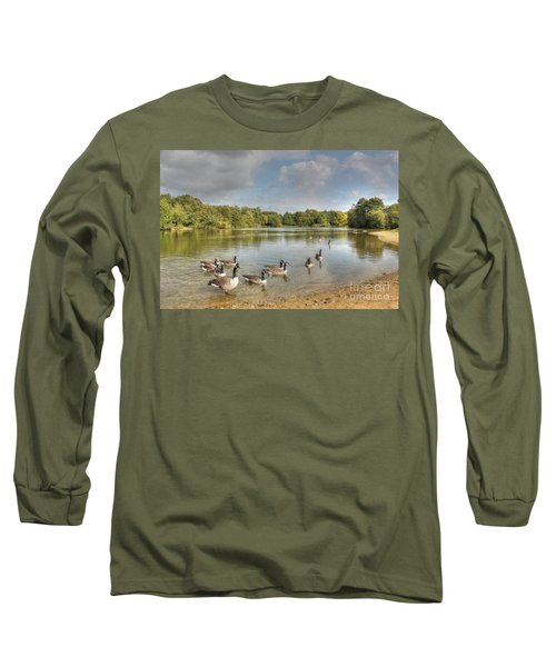 Geese On The Lake Hdr Long Sleeve T-Shirt