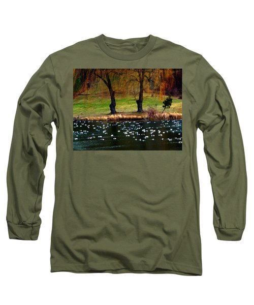 Geese Weeping Willows Long Sleeve T-Shirt