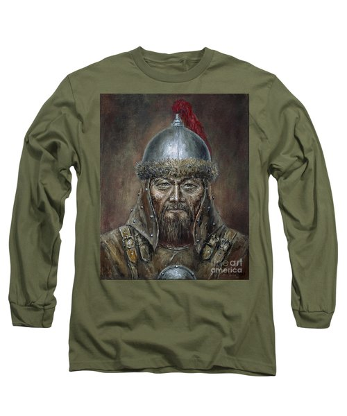 Genhis Khan Long Sleeve T-Shirt by Arturas Slapsys