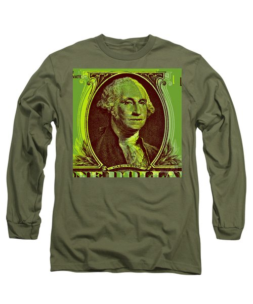 Long Sleeve T-Shirt featuring the digital art George Washington - $1 Bill by Jean luc Comperat