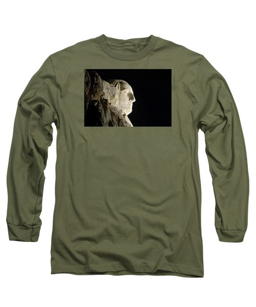 George Washington Profile At Night Long Sleeve T-Shirt by David Lawson