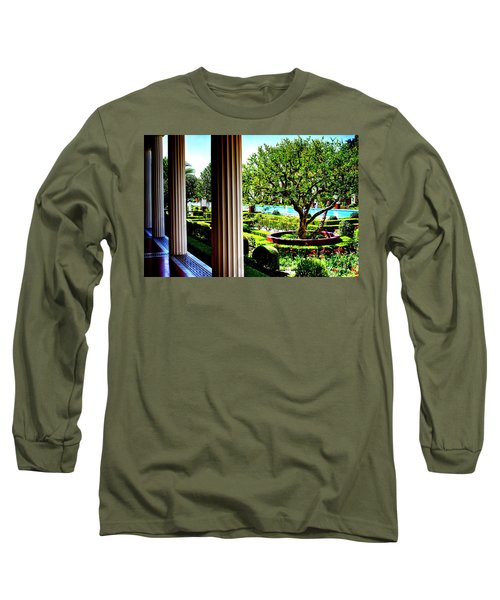 Long Sleeve T-Shirt featuring the photograph Getty Villa Peristyle Garden by Joseph Hollingsworth