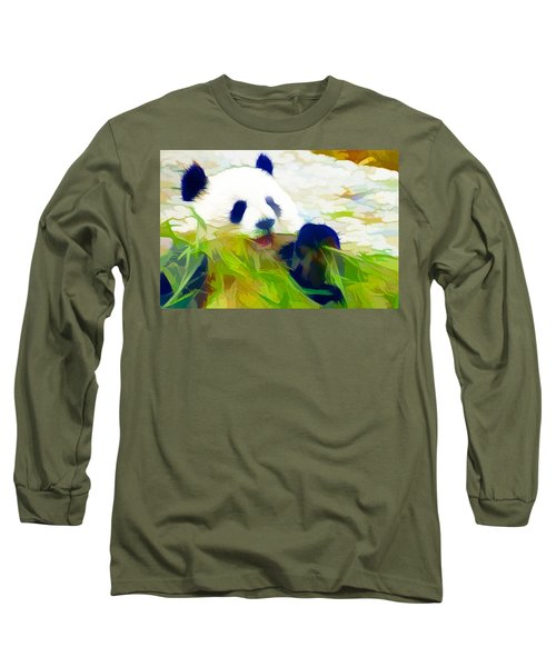Long Sleeve T-Shirt featuring the painting Giant Panda Bear Eating Bamboo by Lanjee Chee