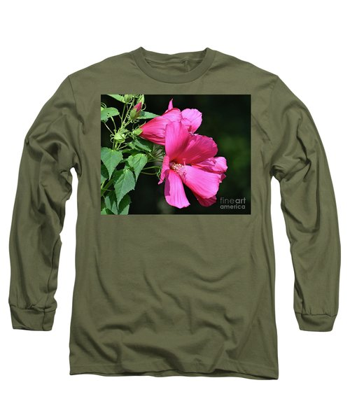 Giant Pink Hibiscus Long Sleeve T-Shirt