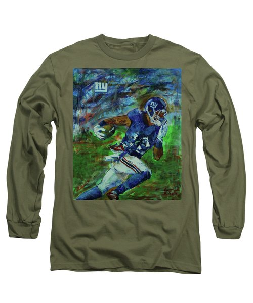 Long Sleeve T-Shirt featuring the painting Ny Giants -  Big Blue by Walter Fahmy