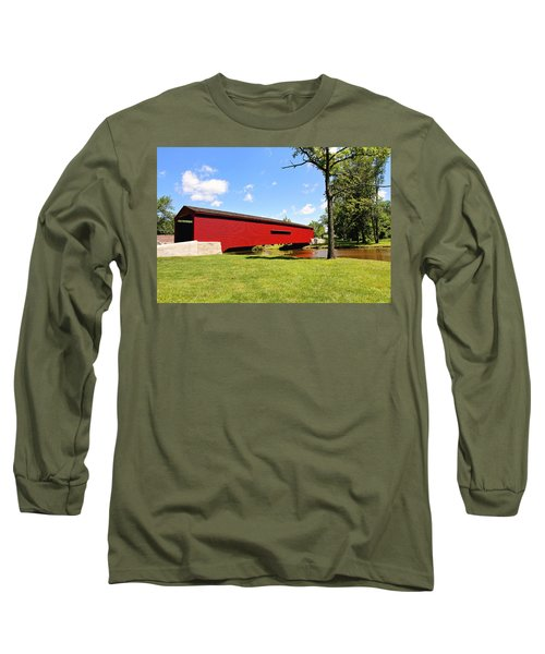 Long Sleeve T-Shirt featuring the photograph Gilpin's Falls Covered Bridge by Trina  Ansel