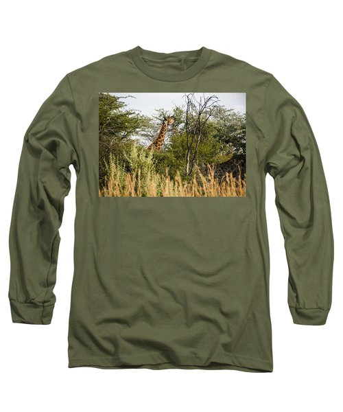 Giraffe Browsing Long Sleeve T-Shirt by Patrick Kain