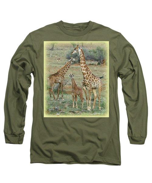 Long Sleeve T-Shirt featuring the photograph Giraffe Family by Myrna Bradshaw