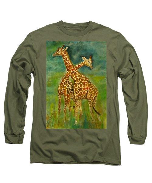 Lovely Giraffe . Long Sleeve T-Shirt by Khalid Saeed