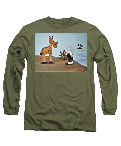 Giraffes, Elephants And Palm Trees Long Sleeve T-Shirt