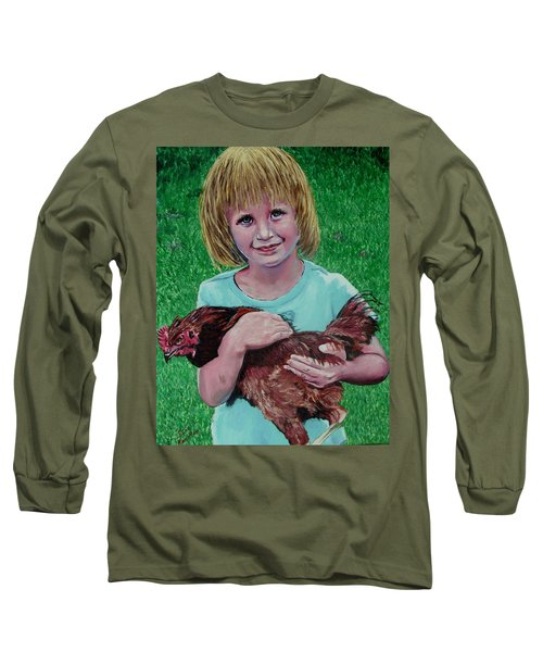 Girl And Chicken Long Sleeve T-Shirt by Stan Hamilton